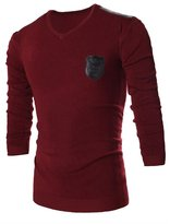 jeansian Men's Casual V Neck Knitted Sweater Long Sleeves Shirts Tops 88B4 L