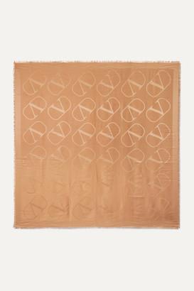 Valentino Garavani Silk And Wool-blend Jacquard Scarf - Camel