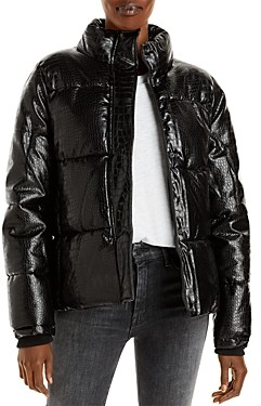 Andrew Marc Croc Embossed Faux Leather Puffer Jacket (75% off) Comparable value $200
