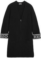 Kenzo Intarsia Cotton-blend Cardigan - Black