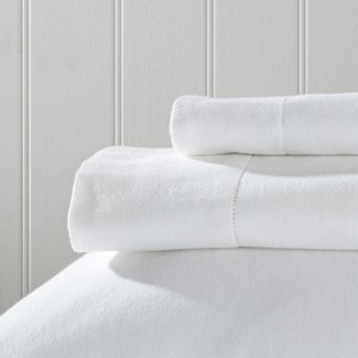 The White Company Velvet-Touch Brushed Cotton Fitted Sheets, White, Double