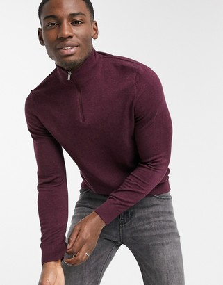 Burton Menswear organic knitted half zip jumper in burgundy