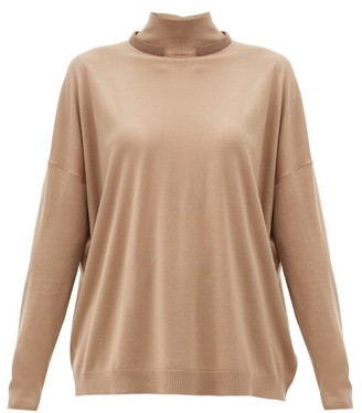 Brunello Cucinelli Monili Trim Wool-blend Sweater - Camel