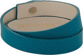 Valextra Men's Leather Wrap Bracelet-TURQUOISE