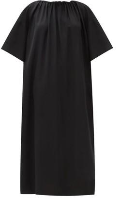 The Row Tobias Gathered-neck Midi Dress - Black