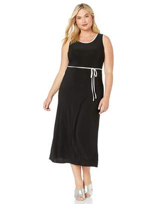 Star Vixen Women's Plus-Size Sleeveless Round Neck Maxi Dress with Color Piping