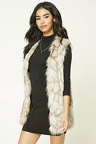 Forever 21 FOREVER 21+ Geo-Patterned Faux Fur Vest