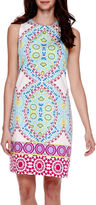 London Times London Style Collection Sleeveless Medallion Print Sheath Dress - Petite