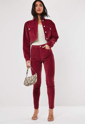 Missguided Tall Berry Co Ord High Waisted Cord Jeans
