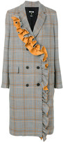 MSGM frill detail check coat