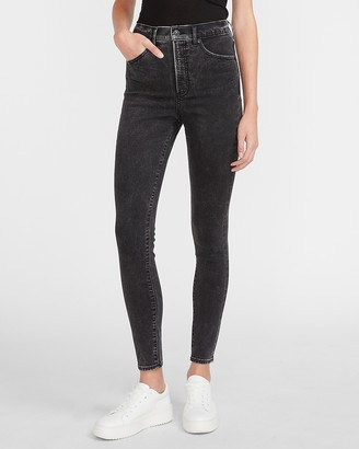 Express Super High Waisted Black Skinny Jeans