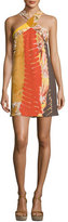 Josie Natori Graphic-Print Crepe Halter Dress, Multi