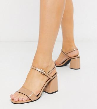 Raid Wide Fit Anthem block heeled sandals in beige
