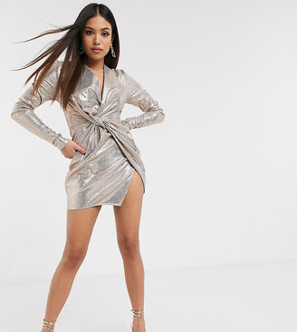 Club L London Petite metallic knot front mini dress in gold