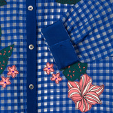 Paul Smith Women's Blue Gingham Shirt With Floral Embroidery