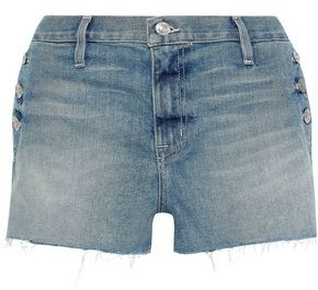 Current/Elliott The Skiff Button-detailed Distressed Denim Shorts