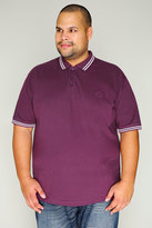 Yours Clothing BadRhino Dark Purple Polo Shirt With White Stripe Detail