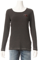 Sundry Long Sleeve Stripe Heart Patch Tee