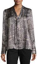 Lafayette 148 New York Ardelle Chevron-Print Silk Top, Black Multi