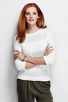 Classic Women's Tall Supima Pointelle Crewneck Sweater-White