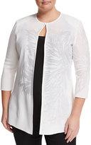Ming Wang Tonal Floral-Print Knit Jacket, White, Plus Size
