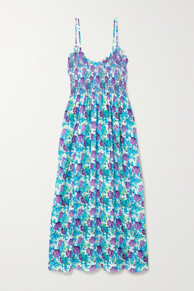 Loretta Caponi - Bianca Ruffled Smocked Floral-print Cotton-voile Midi Dress - Blue