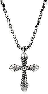 Emanuele Bicocchi Men's Permanent Sterling Silver Cross Pendant Necklace