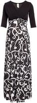 Glam Black & White Arabesque Maternity Maxi Dress