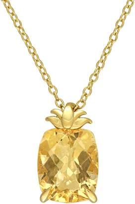 Laura Ashley Yellow Goldplated Sterling Silver Citrine Pineapple Pendant Necklace