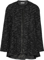 Alice + Olivia Kristy leather-trimmed tweed coat