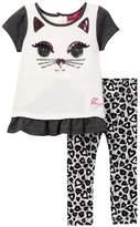 Betsey Johnson Cat Face Top & Allover Print Legging Set (Baby Girls)