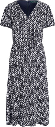 Ralph Lauren Bubble-Sleeve Crepe Dress