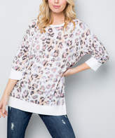 Acting Pro Women's Tee Shirts TAUPE - Taupe Leopard Three-Quarter Sleeve Sweatshirt - Women & Plus