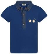Fendi Baby Boys Blue Contrast Collar Polo Top