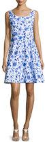 Oscar de la Renta Sleeveless Floral-Print A-Line Dress, Blue
