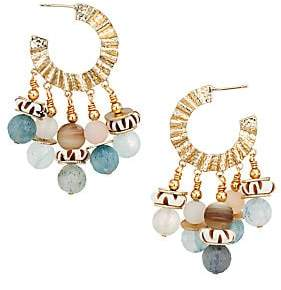 Akola Women's Gemstone & Bone Hoop Drop Earrings