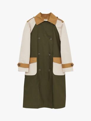 White Stuff Stacey Colour Block Oversized Mac Coat, Green/Multi
