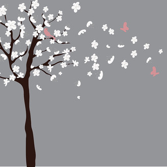 Walldecalsource Tree Wall Decal - White Cherry Blossom Wall Decal - Flowers Blowing In