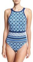 Tommy Bahama Shibori High-Neck One-Piece Swimsuit, Blue