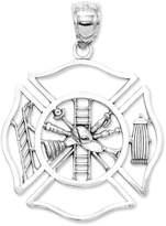 Macy's 14k White Gold Charm, Fireman Shield Charm