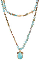 Cara Accessories Double Layer Turquoise Teardrop Pendant Necklace