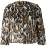 Moschino leopard print faux fur jacket