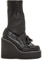 Sacai Black Zip Wedge Boots