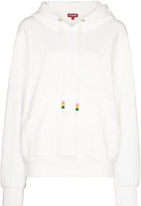 STAUD Logo-Embroidered Cotton Hoodie