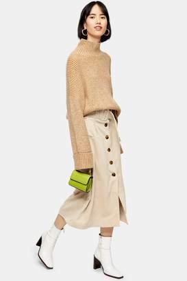 Topshop Womens Corduroy Belted Midi Skirt - Stone