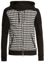 Balmain Hooded Harlequin-print Zip-up Cotton Sweatshirt