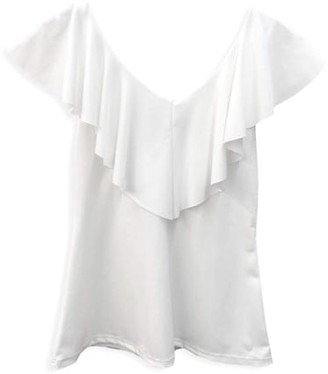 Un Deux Trois Girl's Flutter Sleeve Stretch Top