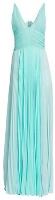 TRE by Natalie Ratabesi Plisse Chiffon Spaghetti Strap Side Slit A-Line Gown