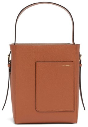 Valextra Bucket Mini Grained Leather Bag - Brown