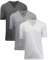 Galaxy By Harvic Galaxy by Harvic Men's Tee Shirts Charcoal - Three-Piece White, Charcoal & Gray Egyptian Cotton V-Neck Tee Set - Men